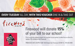 Print out this coupon, or show it on your phone when dining at Firewood on Tuesdays.